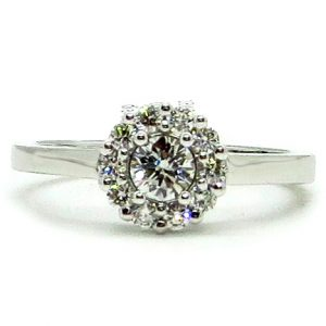 Prima Lux White gold halo ring