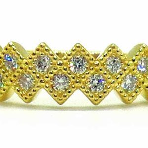 Prima Lux Yellow gold half eternity diamond ring