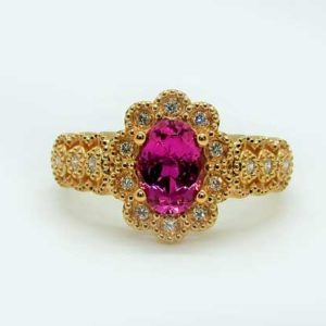 Prima Lux Pink Tourmaline and diamond rose gold ring
