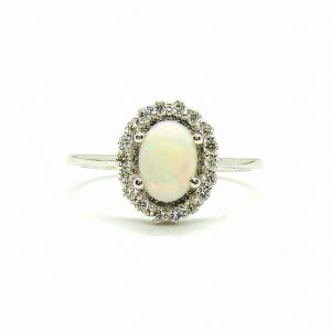 Prima Lux opal and diamond halo ring