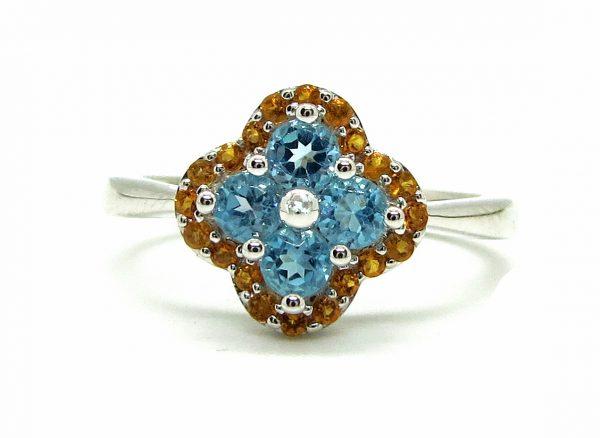 Prima Lux Topaz & citrine flower ring