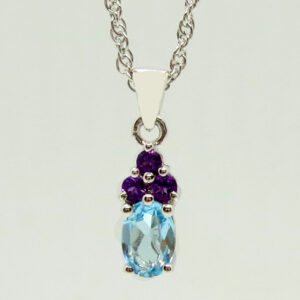Prima Lux Topaz and amethyst pendant and chain set